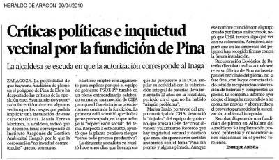 Noticia del Heraldo de hoy, 20 de abril