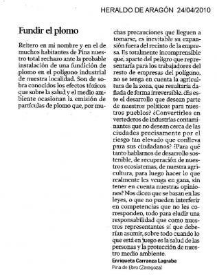Carta de Enriqueta Carranza publicada el 24 de abril de 2010 en Heraldo de Aragón