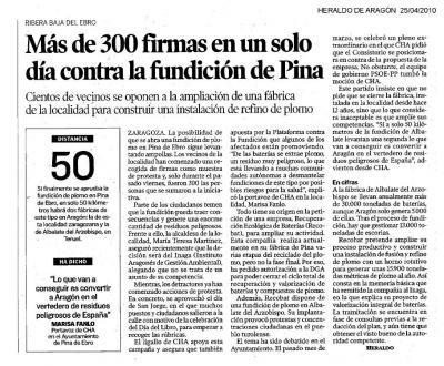Más de 300 firmas recogidas en Pina en un solo día contra la fundición de plomo