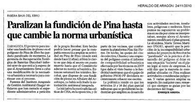 Recobat ha retirado el proyecto de ampliación con una fundición de plomo de su fábrica de Pina