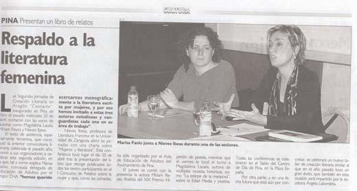 II Jornadas de creación literaria en Aragón ContArte, sobre literatura escrita por mujeres